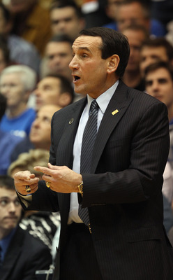 DURHAM, NC - DECEMBER 01:  Head coach Mike Krzyzewski of the Duke Blue Devils calls a play against the Michigan State Spartans during their game at Cameron Indoor Stadium on December 1, 2010 in Durham, North Carolina.  (Photo by Streeter Lecka/Getty Image
