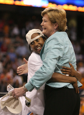 TAMPA, FL - APRIL 08:  (L-R) Shannon Bobbitt #00 and head coach Pat Summitt of the Tennessee Lady Volunteers  celebrate their 64-48 win against the Stanford Cardinal during the National Championsip Game of the 2008 NCAA Women's Final Four at St. Pete Time