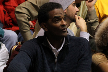 PHILADELPHIA, PA - DECEMBER 08:  Former NBA player Ralph Sampson watches his son Ralph Sampson III #50 of the Minnesota Golden Gophers play against the St. Joseph's Hawks at Michael J. Hagan Arena on December 8, 2010 in Philadelphia, Pennsylvania.  (Photo
