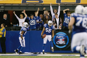 INDIANAPOLIS, IN - DECEMBER 19: Tyjuan Hagler #56 of the Indianapolis Colts celebrates a touchdown after recovering an onside kick against the Jacksonville Jaguars at Lucas Oil Stadium on December 19, 2010 in Indianapolis, Indiana.   The Colts defeated th