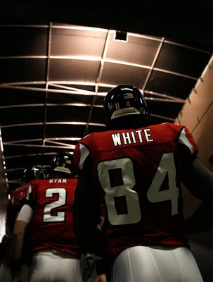 ATLANTA - DECEMBER 27:  Quarterback Matt Ryan #2 and Roddy White #84 of the Atlanta Falcons wait for player introductions before facing the Buffalo Bills at Georgia Dome on December 27, 2009 in Atlanta, Georgia.  (Photo by Kevin C. Cox/Getty Images)