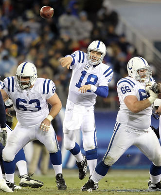 With this kind of protection from Jeff Saturday and crew, Peyton Manning can do this with his eyes closed.