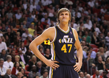 MIAMI - NOVEMBER 09:  Andrei Kirilenko #47 of the Utah Jazz waits during a foul shot during a game agsinst the Miami Heat at American Airlines Arena on November 9, 2010 in Miami, Florida. NOTE TO USER: User expressly acknowledges and agrees that, by downl