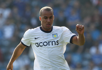 PORTSMOUTH, ENGLAND - APRIL 18: Gabriel Agbonlahor of Aston Villa in action during the Barclays Premier League match between Portsmouth and Aston Villa at Fratton Park on April 18, 2010 in Portsmouth, England.  (Photo by Phil Cole/Getty Images)