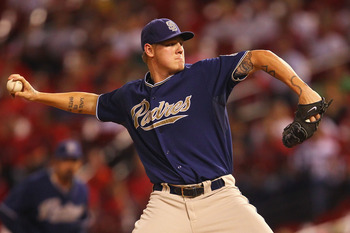 ST. LOUIS - SEPTEMBER 17: Starter Matt Latos #38 of the San Diego Padres pitches against the St. Louis Cardinals at Busch Stadium on September 17, 2010 in St. Louis, Missouri.  (Photo by Dilip Vishwanat/Getty Images)