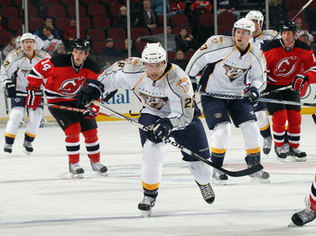 NEWARK, NJ - DECEMBER 17:  Steve Begin #28 of the Nashville Predators skates in his first game of the season against the New Jersey Devils at the Prudential Center on December 17, 2010 in Newark, New Jersey. (Photo by Bruce Bennett/Getty Images)