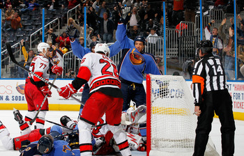 ATLANTA, GA - DECEMBER 16:  Anthony Stewart #22 of the Atlanta Thrashers celebrates after scoring a goal against the Carolina Hurricanes at Philips Arena on December 16, 2010 in Atlanta, Georgia.  (Photo by Kevin C. Cox/Getty Images)