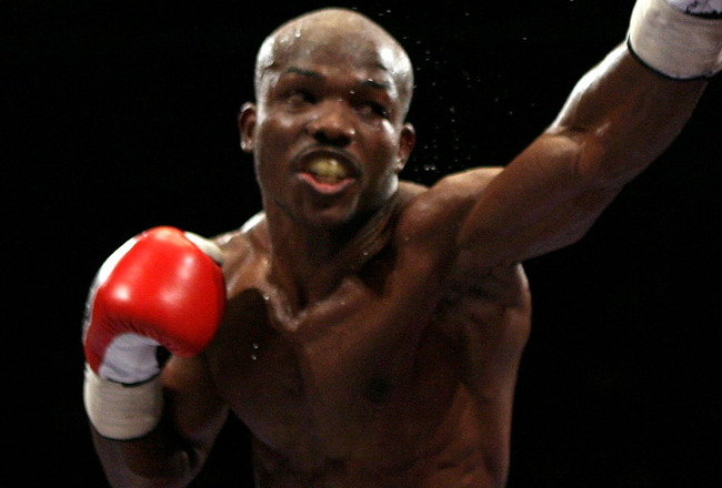 NOTTINGHAM, ENGLAND - MAY 10:  Timothy Bradley connects with a left jab on Junior Witter down during their WBC Light Welterweight fight on May 10, 2008 at Nottingham Ice Arena in Nottingham, England. (Photo by John Gichigi/Getty Images)