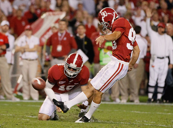 TUSCALOOSA, AL - OCTOBER 16:  Jeremy Shelley #90 of the Alabama Crimson Tide against the Ole Miss Rebels at Bryant-Denny Stadium on October 16, 2010 in Tuscaloosa, Alabama.  (Photo by Kevin C. Cox/Getty Images)