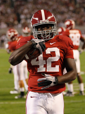 TUSCALOOSA, AL - OCTOBER 16:  Eddie Lacy #42 of the Alabama Crimson Tide against the Ole Miss Rebels at Bryant-Denny Stadium on October 16, 2010 in Tuscaloosa, Alabama.  (Photo by Kevin C. Cox/Getty Images)
