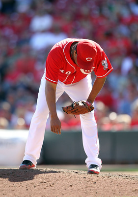CINCINNATI - SEPTEMBER 12:  Francisco Cordero #48 of the Cincinnati Reds is bent over during the ninth inning in which he allowed 3 runs during the game against the Pittsburgh Pirates at Great American Ballpark on September 12, 2010 in Cincinnati, Ohio.Pi