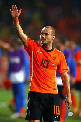 PORT ELIZABETH, SOUTH AFRICA - JULY 02:  Wesley Sneijder of the Netherlands celebrates victory following the 2010 FIFA World Cup South Africa Quarter Final match between Netherlands and Brazil at Nelson Mandela Bay Stadium on July 2, 2010 in Nelson Mandel