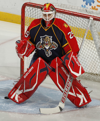 SUNRISE, FL - DECEMBER 7: Goaltender Tomas Vokoun #29 of the Florida Panthers warms up prior to the game against the Colorado Avalanche on December 7, 2010 at the BankAtlantic Center in Sunrise, Florida. (Photo by Joel Auerbach/Getty Images)