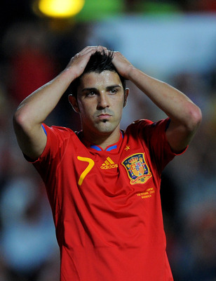 SALAMANCA, SPAIN - OCTOBER 08: David Villa of Spain reacts during the EURO 2012 Qualifying Group I match between Spain and Lithuania at the Helmantico stadium on October 8, 2010 in Salamanca, Spain.  (Photo by Denis Doyle/Getty Images)