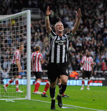 NEWCASTLE UPON TYNE, ENGLAND - OCTOBER 31:  Kevin Nolan of Newcastle celebrates after scoring a goal to make it 5-0 during the Barclays Premier League match between Newcastle United and Sunderland at St James' Park on October 31, 2010 in Newcastle upon Ty