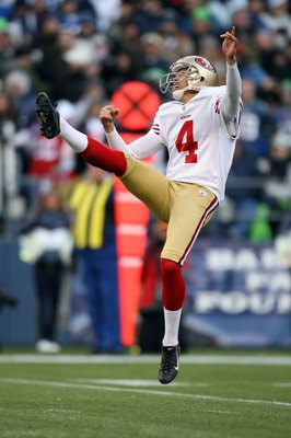 SEATTLE - DECEMBER 6:  Punter Andy Lee #4 of the San Francisco 49ers follows through on his kick during their NFL game against the Seattle Seahawks on December 6, 2009 at Qwest Field in Seattle, Washington. The Seahawks defeated the 49ers 20-17. (Photo by