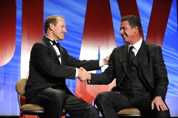 WASHINGTON - APRIL 4:   Co-host Bill Cowher (L) and Hall of Famer Dan Marino during the NFL PLAYERS Gala at the Washington Hilton on April 4, 2008 in Washington, D.C.  (Photo by Mitchell Layton/Getty Images for PLAYERS INC)