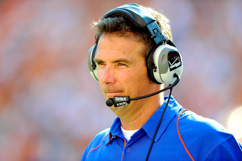 KNOXVILLE, TN - SEPTEMBER 18:  Coach Urban Meyer of the Florida Gators watches his team play against the Tennessee Volunteers at Neyland Stadium on September 18, 2010 in Knoxville, Tennessee.  (Photo by Grant Halverson/Getty Images)