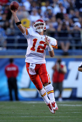 SAN DIEGO - DECEMBER 12:  Quarterback Brodie Croyle #12 of the Kansas City Chiefs throws a pass against the San Diego Chargers at Qualcomm Stadium on December 12, 2010 in San Diego, California.  The Chargers won 31-0.  (Photo by Stephen Dunn/Getty Images)