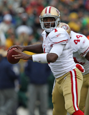 GREEN BAY, WI - DECEMBER 05: Troy Smith #1 of the San Francisco 49ers throws a pass against the Green Bay Packers at Lambeau Field on December 5, 2010 in Green Bay, Wisconsin. The Packers defeated the 49ers 34-16. (Photo by Jonathan Daniel/Getty Images)