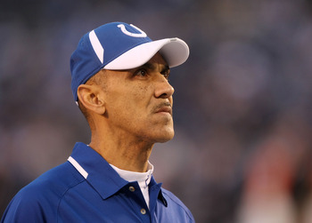 SAN DIEGO - JANUARY 03:  Head Coach Tony Dungy of the Indianapolis Colts stands on the field prior to the AFC Wild Card Game against the San Diego Chargers on January 3, 2009 at Qualcomm Stadium in San Diego, California.  (Photo by Stephen Dunn/Getty Imag