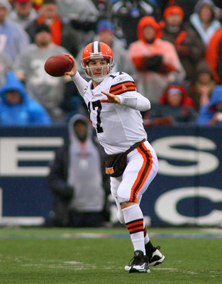 ORCHARD PARK, NY - DECEMBER 12:  Jake Delhomme #17 of the Cleveland Browns readies to pass against the Buffalo Bills  at Ralph Wilson Stadium on December 12, 2010 in Orchard Park, New York.  (Photo by Rick Stewart/Getty Images)