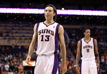 PHOENIX - DECEMBER 15:  Steve Nash #13 of the Phoenix Suns walks down court during the NBA game against the Minnesota Timberwolves at US Airways Center on December 15, 2010 in Phoenix, Arizona.  The Suns defeated the Timberwolves 128-122.  NOTE TO USER: U