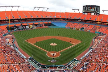 MIAMI - APRIL 11:  A view from high in the stadium in the first inning as the Los Angeles Dodgers take on the Florida Marlins at Sun Life Stadium on April 11, 2010 in Miami, Florida. The Marlins defeated the Dodgers 6-5.  (Photo by Doug Benc/Getty Images)