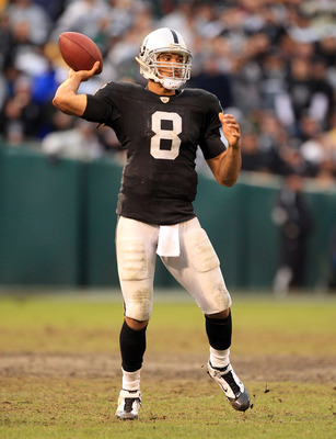 OAKLAND, CA - DECEMBER 19:  Jason Campbell #8 of the Oakland Raiders in action against the Denver Broncos at Oakland-Alameda County Coliseum on December 19, 2010 in Oakland, California.  (Photo by Ezra Shaw/Getty Images)