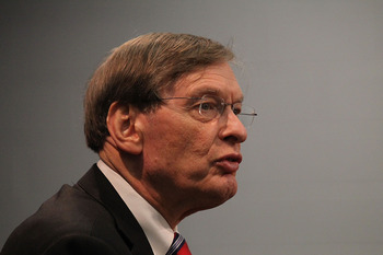 ARLINGTON, TX - SEPTEMBER 29:  MLB commisioner Bud Selig talks with the media at Rangers Ballpark in Arlington on September 29, 2010 in Arlington, Texas.  (Photo by Ronald Martinez/Getty Images)