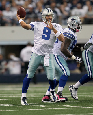 ARLINGTON, TX - OCTOBER 10:  Quarterback Tony Romo #9 of the Dallas Cowboys throws a pass against the Tennessee Titans at Cowboys Stadium on October 10, 2010 in Arlington, Texas. (Photo by Stephen Dunn/Getty Images)