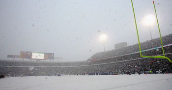 ORCHARD PARK, NY - JANUARY 03: A general view  of the Buffalo Bills playing the Indianapolis Colts in the snow at Ralph Wilson Stadium on January 3, 2010 in Orchard Park, New York.  (Photo by Rick Stewart/Getty Images)