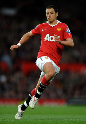 MANCHESTER, ENGLAND - NOVEMBER 06:   Javier Hernandez of Manchester United in action during the Barclays Premier League match between Manchester United and Wolverhampton Wanderers at Old Trafford on November 6, 2010 in Manchester, England. (Photo by Laure