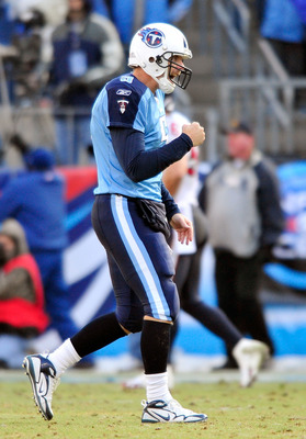 NASHVILLE, TN - DECEMBER 19:  Kerry Collins #5 of the Tennessee Titans celebrates after a touchdown by teammate Chris Johnson against the Houston Texans at LP Field on December 19, 2010 in Nashville, Tennessee. The Titans defeated the Texans, 31-17.  (Pho