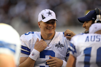 ARLINGTON, TX - DECEMBER 19:  Quarterback Jon Kitna #3 of the Dallas Cowboys at Cowboys Stadium on December 19, 2010 in Arlington, Texas.  (Photo by Ronald Martinez/Getty Images)