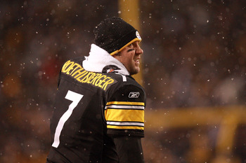 PITTSBURGH - DECEMBER 19:  Ben Roethlisberger #7 of the Pittsburgh Steelers is seen during the game agasint the New York Jets at Heinz Field on December 19, 2010 in Pittsburgh, Pennsylvania.  (Photo by Karl Walter/Getty Images)