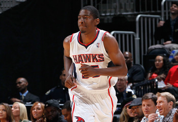 ATLANTA - NOVEMBER 03:  Jordan Crawford #55 of the Atlanta Hawks against the Detroit Pistons at Philips Arena on November 3, 2010 in Atlanta, Georgia.  NOTE TO USER: User expressly acknowledges and agrees that, by downloading and/or using this Photograph,