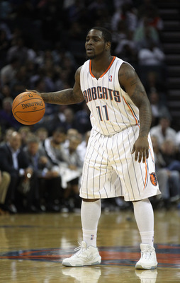 CHARLOTTE, NC - NOVEMBER 08:  Sherron Collins #11 of the Charlotte Bobcats against the San Antonio Spurs during their game at Time Warner Cable Arena on November 8, 2010 in Charlotte, North Carolina.  NOTE TO USER: User expressly acknowledges and agrees t