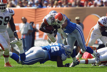 23 Sep 2001:   James Jackson #29 of the Cleveland Browns leaps over Shaun Rogers #92 of the Detroit Lions during the game at Cleveland Browns Stadium in Cleveland, Ohio. The Browns won 24-14. DIGITAL IMAGE. Mandatory Credit: Tom Pidgeon/Allsport