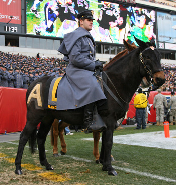 PHILADELPHIA - DECEMBER 11: An Army cadet sits on the Army mule during a game against the Navy Midshipmen on December 11, 2010 at Lincoln Financial Field in Philadelphia, Pennsylvania. The Midshipmen won 31-17. (Photo by Hunter Martin/Getty Images)