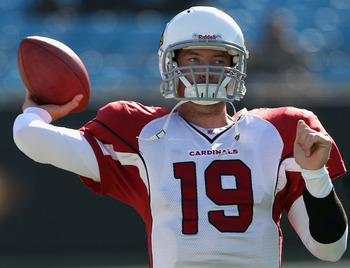 CHARLOTTE, NC - DECEMBER 19:  John Skelton #19 of the Arizona Cardinals warms up before the start of their game against the Carolina Panthers at Bank of America Stadium on December 19, 2010 in Charlotte, North Carolina.  (Photo by Streeter Lecka/Getty Ima