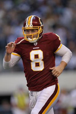ARLINGTON, TX - DECEMBER 19:  Quarterback Rex Grossman #8 of the Washington Redskins during play against the Dallas Cowboys at Cowboys Stadium on December 19, 2010 in Arlington, Texas.  (Photo by Ronald Martinez/Getty Images)