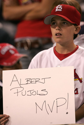 SAN DIEGO - OCTOBER 08:  A young St. Louis Cardinals fan holds up a sign that reads 'Albert Pujols MVP!' during Game Three of the 2005 National League Division Series against the San Diego Padres   on October 8, 2005 at Petco Park in San Diego, California