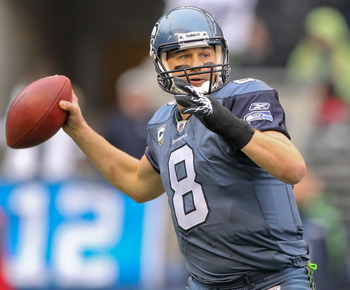 SEATTLE - DECEMBER 05:  Quarterback Matt Hasselbeck #8 of the Seattle Seahawks passes against the Carolina Panthers at Qwest Field on December 5, 2010 in Seattle, Washington. The Seahawks won, 31-14. (Photo by Otto Greule Jr/Getty Images)