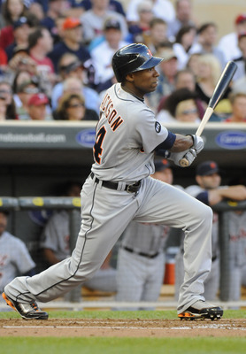 MINNEAPOLIS, MN - JUNE 28: Austin Jackson #14 of the Detroit Tigers singles in the second inning against the Minnesota Twins during their game on June 28, 2010 at Target Field in Minneapolis, Minnesota. Tigers won 7-5. (Photo by Hannah Foslien /Getty Imag