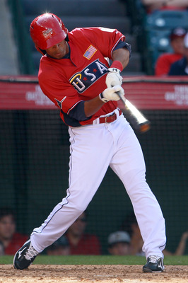 ANAHEIM, CA - JULY 11:  U.S. Futures All-Star Desmond Jennings #15 of the Tampa Bay Rays at bat during the 2010 XM All-Star Futures Game at Angel Stadium of Anaheim on July 11, 2010 in Anaheim, California.  (Photo by Jeff Gross/Getty Images)