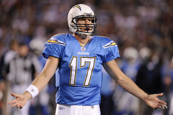SAN DIEGO, CA - DECEMBER 16:  Quarterback Philip Rivers #17 of the San Diego Chargers reacts to a penalty during their game against the San Francisco 49ers at Qualcomm Stadium on December 16, 2010 in San Diego, California.  (Photo by Harry How/Getty Image