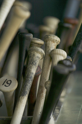 KISSIMMEE, FL - MARCH 5:  Bats sit in the bat rack before a spring training game between the Houston Astros and the Atlanta Braves on March 5, 2005 at Osceola County Stadium in Kissimmee, Florida.  (Photo by Rick Stewart/Getty Images)
