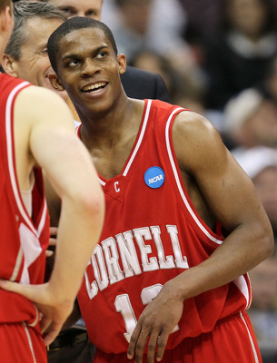 JACKSONVILLE, FL - MARCH 21:  Louis Dale #12 of the Cornell Big Red celebrates after defeating the Wisconsin Badgers during the second round of the 2010 NCAA men's basketball tournament at Jacksonville Veteran's Memorial Arena on March 21, 2010 in Jackson