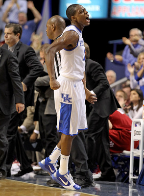 LEXINGTON, KY - DECEMBER 11:  Brandon Knight #12 of the Kentucky Wildcats celebrates during the 81-62 victory over the Indiana Hoosiers on December 11, 2010 in Lexington, Kentucky.  (Photo by Andy Lyons/Getty Images)